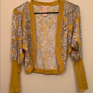 Anthropologie Tulle mustard floral open cardigan.